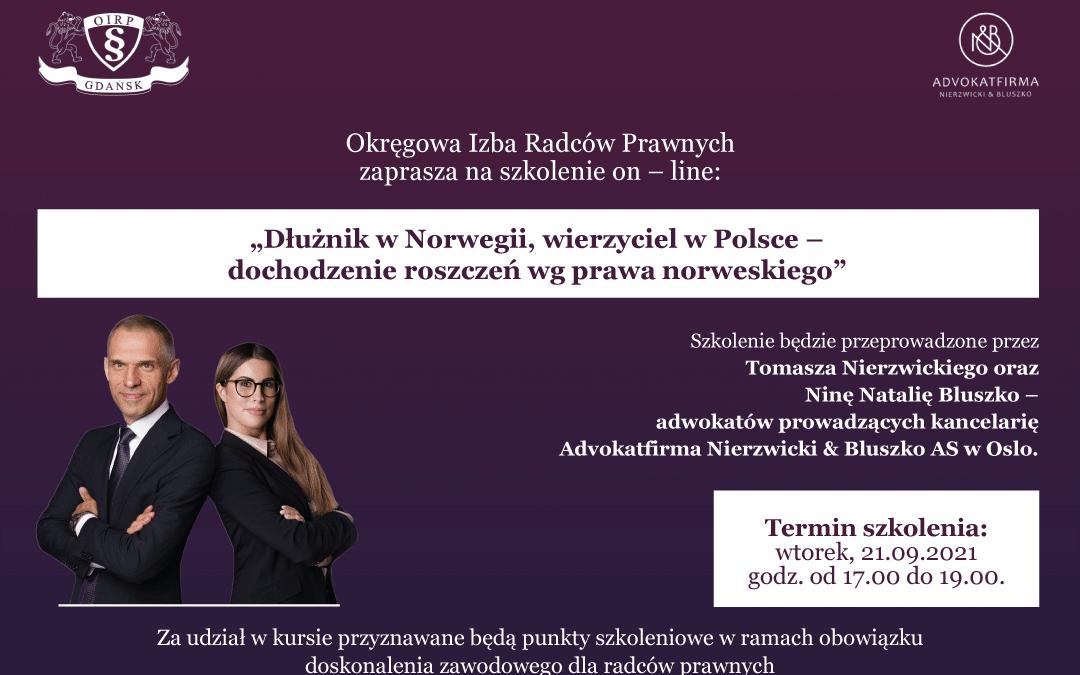 Adv. Nierzwicki i adv. Bluszko prelegentami na szkoleniu dla radców prawnych